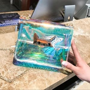 Handbags - Holographic/Iridescent Kitty crossbody bag.